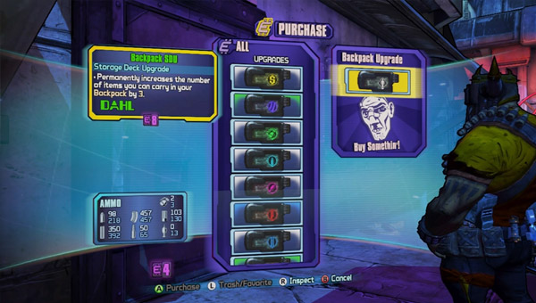 How to increase your inventory space Borderlands 2