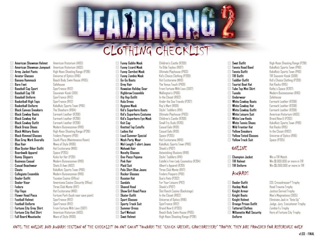 "Dead Rising 2 full clothing checklist for ""Chuck Greene: Cross Dresser?"" achievement/trophy"