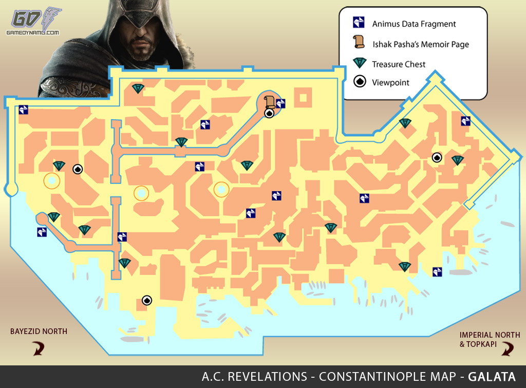 Assassin's Creed: Revelations Map (Galata) - Animus Data Fragments, Memoir Pages, Treasure Chest Locations