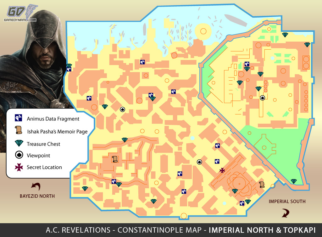 Assassin's Creed: Revelations Map (Imperial North & Topkapi) - Animus Data Fragments, Memoir Pages, Treasure Chest Locations