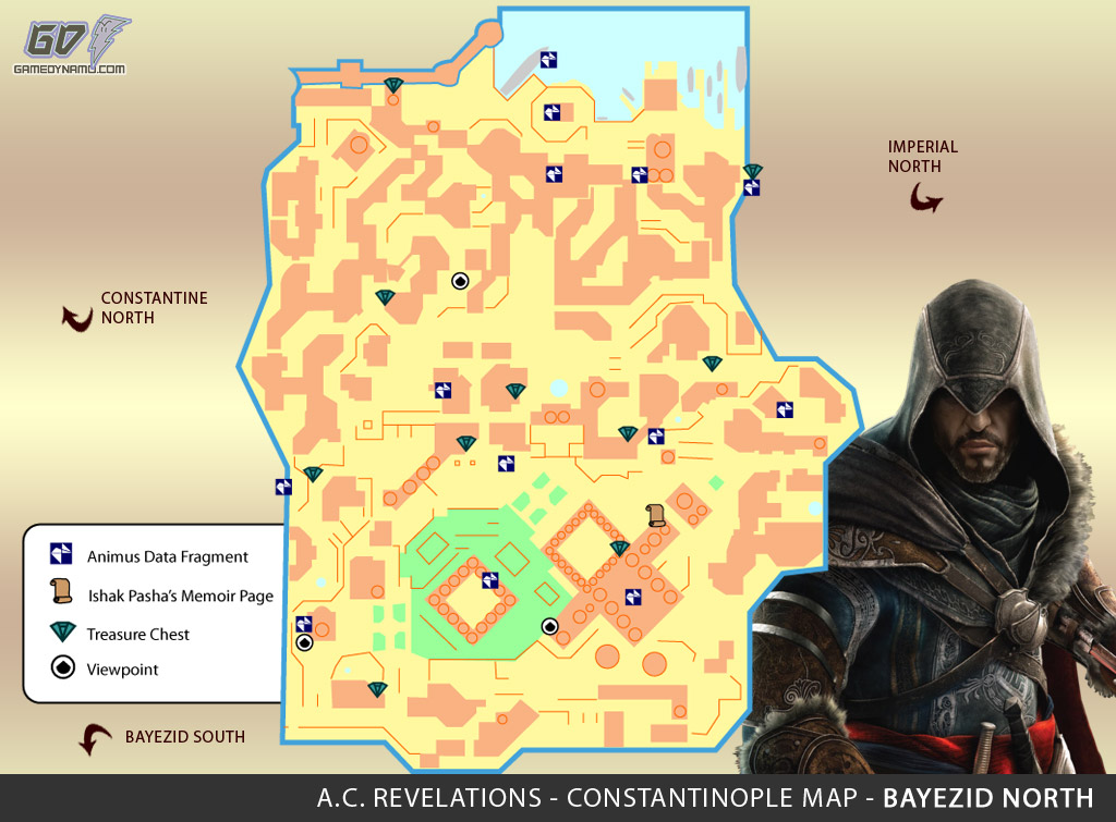 Assassin's Creed: Revelations Map (Bayezid North) - Animus Data Fragments, Memoir Pages, Treasure Chest Locations