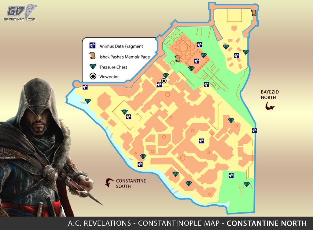 Assassin's Creed: Revelations Map (Constantine North) - Animus Data Fragments, Memoir Pages, Treasure Chest Locations