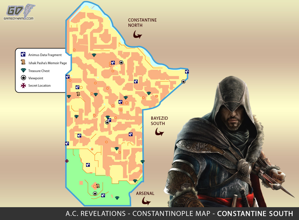 Assassin's Creed: Revelations Map (Constantine South) - Animus Data Fragments, Memoir Pages, Treasure Chest Locations