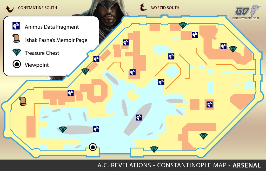 Assassin's Creed: Revelations Map (Arsenal) - Animus Data Fragments, Memoir Pages, Treasure Chest Locations