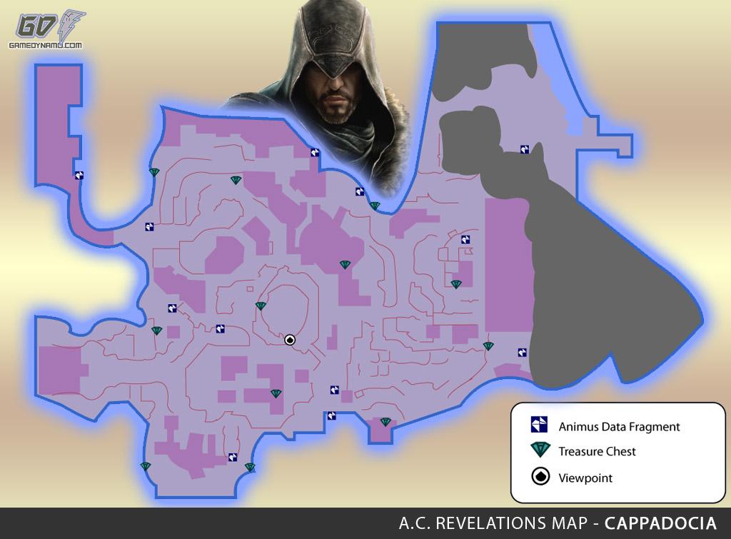 Assassin's Creed: Revelations Map (Cappadocia) - Animus Data Fragments, Memoir Pages, Treasure Chest Locations