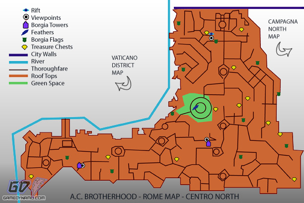 Assassin's Creed: Brotherhood - Centro North Map - flag, treasure, feather, rifts, tower, and lair locations