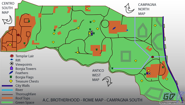 Assassin's Creed: Brotherhood - Campagna South Map - flag, treasure, feather, rifts, tower, and lair locations