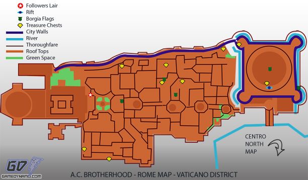 Assassin's Creed: Brotherhood - Vaticano District Map - flag, treasure, rift, tower, and lair locations