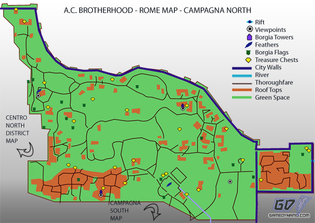Assassin's Creed: Brotherhood - Campagna North Map - flag, treasure, feather, rifts, tower, and lair locations