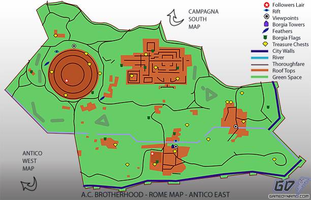 Assassin's Creed: Brotherhood - Antico East Map - flag, treasure, feather, rifts, tower, and lair locations