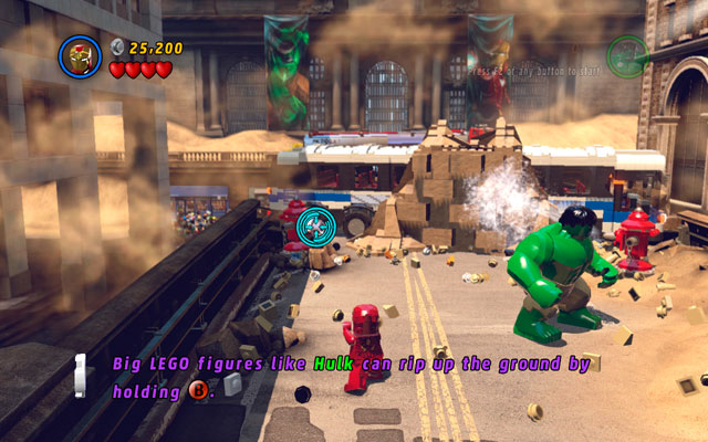 When you reach to the place with red hydrants, use Iron Man's ability to shoot at the silver valves (notice that only characters with missile attack can destroy silver bricks - Sand Central Station - Walkthrough - LEGO Marvel Super Heroes - Game Guide and Walkthrough