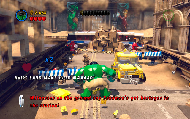 Beginning of the stage is pretty simple - destroy all obstacles standing on your way and then reach the wall with two hydrants on both sides of the street - Sand Central Station - Walkthrough - LEGO Marvel Super Heroes - Game Guide and Walkthrough