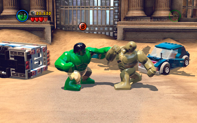 Duel is very easy - constantly mash attack button and when characters change their position, hit interaction button as fast as you can - Sand Central Station - Walkthrough - LEGO Marvel Super Heroes - Game Guide and Walkthrough