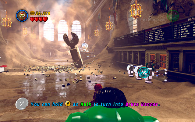 Now it's time for Iron Man - steady your aim and shoot at the silver barriers on the right - Sand Central Station - Walkthrough - LEGO Marvel Super Heroes - Game Guide and Walkthrough