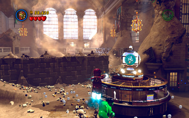 After finishing struggle, move forward and use Iron Man's rockets to shoot at the silver ball placed on the right - Sand Central Station - Walkthrough - LEGO Marvel Super Heroes - Game Guide and Walkthrough