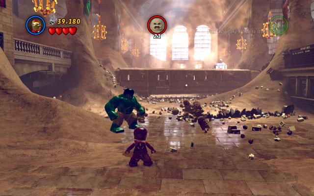 When you move further, you will face a train with 21 sand creeps on it - Sand Central Station - Walkthrough - LEGO Marvel Super Heroes - Game Guide and Walkthrough