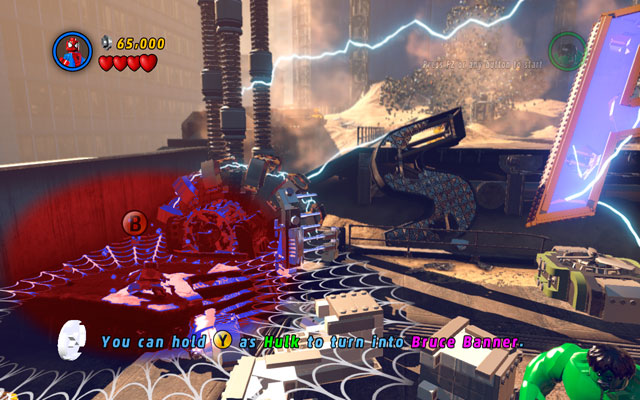 Turn yourself into Iron Man and destroy silver barriers on the left - Sand Central Station - Walkthrough - LEGO Marvel Super Heroes - Game Guide and Walkthrough