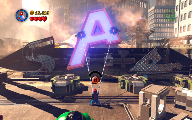 Finally go to the central part of the location and use spider's web at the big A letter - Sand Central Station - Walkthrough - LEGO Marvel Super Heroes - Game Guide and Walkthrough