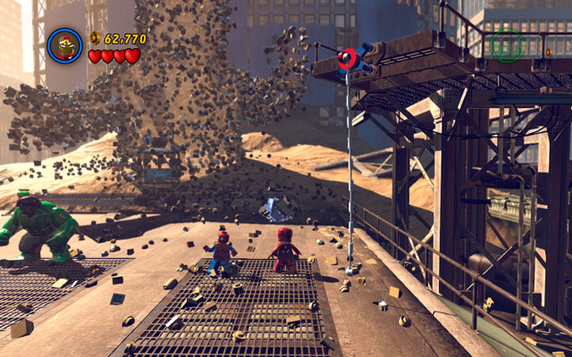On the right side of the sand giant you will find silver obstacle, which only Iron Man can destroy - Sand Central Station - Walkthrough - LEGO Marvel Super Heroes - Game Guide and Walkthrough