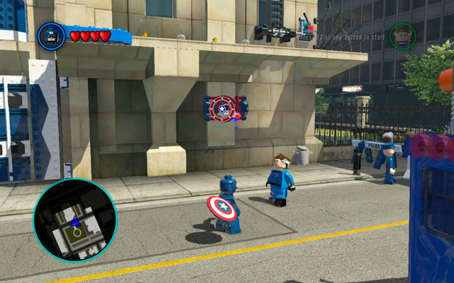 Change to Captain America and toss your shield at the color device on the right - S.H.I.E.L.D. Helicarrier / Baxter Building - Walkthrough - LEGO Marvel Super Heroes - Game Guide and Walkthrough