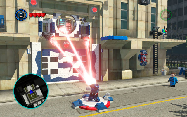 Move to the safe area and use Captain's shield to defend yourself (interaction button) - S.H.I.E.L.D. Helicarrier / Baxter Building - Walkthrough - LEGO Marvel Super Heroes - Game Guide and Walkthrough