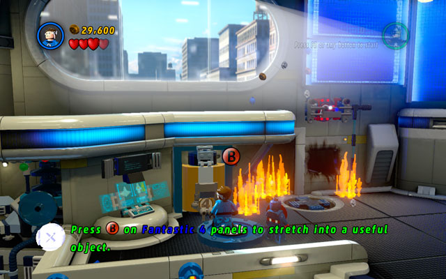 During fight with second wave of the enemies, the fire will broke up on the floor - Times Square Off - Walkthrough - LEGO Marvel Super Heroes - Game Guide and Walkthrough