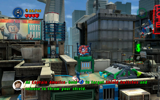 Choose Captain America and go right, jumping between several antennas - finally you will reach to the second roof - Times Square Off - Walkthrough - LEGO Marvel Super Heroes - Game Guide and Walkthrough