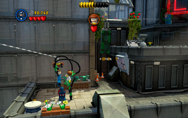 Build a rope from the silo's debris and use it to go to the next roof - Times Square Off - Walkthrough - LEGO Marvel Super Heroes - Game Guide and Walkthrough