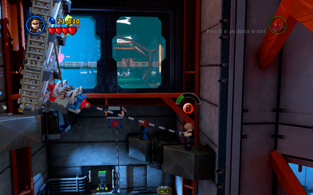 Choose Hawkeye and shoot an arrow at the silver vent at the top of the location - you will create a rope-passage for other characters - Exploratory Laboratory - Walkthrough - LEGO Marvel Super Heroes - Game Guide and Walkthrough