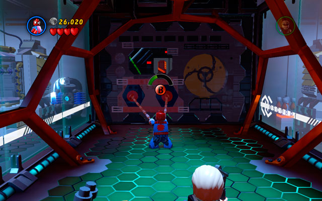 Pass through the corridor and use Spider-Man's spider sense to uncover two attachable points - Exploratory Laboratory - Walkthrough - LEGO Marvel Super Heroes - Game Guide and Walkthrough