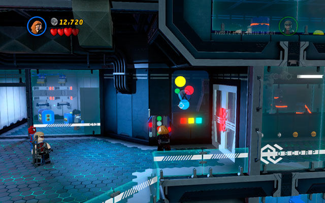 Go to the next corridor and switch into Hawkeye - Exploratory Laboratory - Walkthrough - LEGO Marvel Super Heroes - Game Guide and Walkthrough