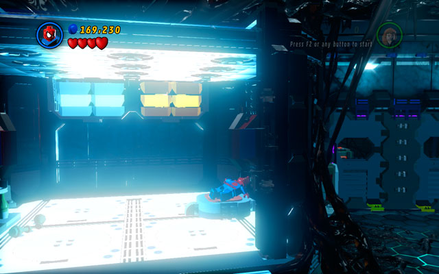 After the fight enter to the frozen, blue room on the right and step on the red button - Exploratory Laboratory - Walkthrough - LEGO Marvel Super Heroes - Game Guide and Walkthrough