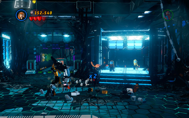 When Venom appears, turn left and return to the one of the previous corridors - Exploratory Laboratory - Walkthrough - LEGO Marvel Super Heroes - Game Guide and Walkthrough