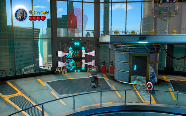 As Captain America cover yourself with a shield and pass through the flames - then head to the object located near to the wall and destroy it - Rebooted, Resuited - Walkthrough - LEGO Marvel Super Heroes - Game Guide and Walkthrough