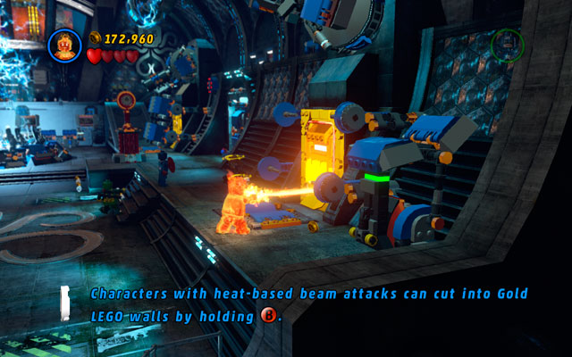 Go to the wall at the opposite side of the arena and look for a lever - Red Head Detention - Walkthrough - LEGO Marvel Super Heroes - Game Guide and Walkthrough