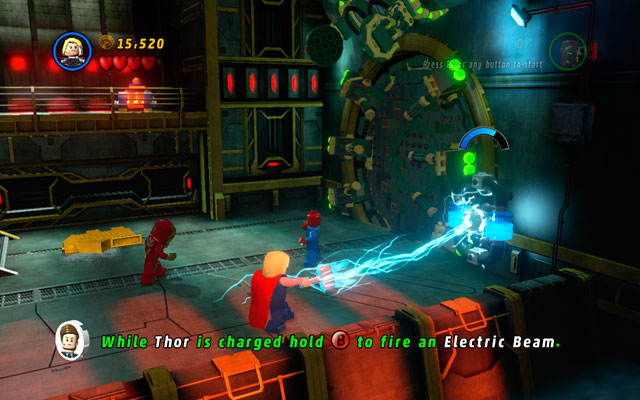 Jump down and approach to the burning barrels - That Sinking Feeling - Walkthrough - LEGO Marvel Super Heroes - Game Guide and Walkthrough