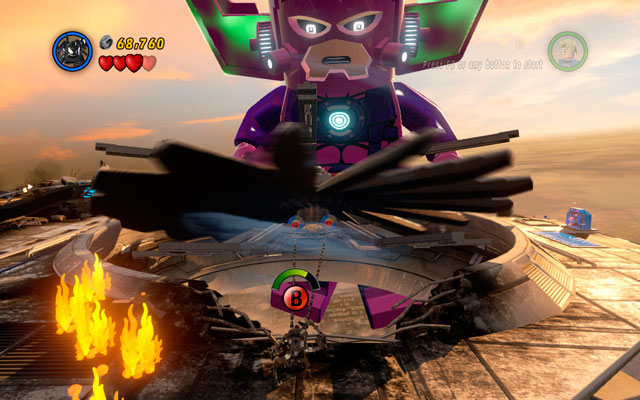 Turn right and melt golden boiler, then switch into Venom and jump over the flames, so you can use a spider sense near to the rotors - The Good, the Bad and the Hungry - Walkthrough - LEGO Marvel Super Heroes - Game Guide and Walkthrough