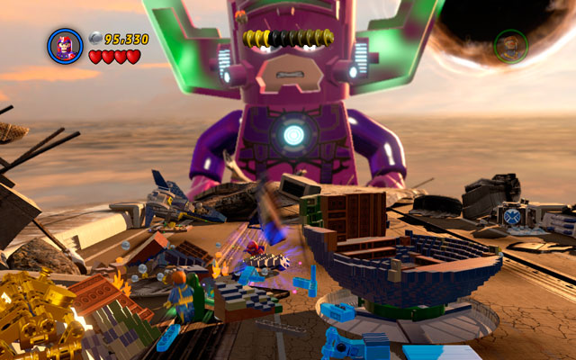 On the last wing choose Magneto to move metal elements to the central part of the location - The Good, the Bad and the Hungry - Walkthrough - LEGO Marvel Super Heroes - Game Guide and Walkthrough