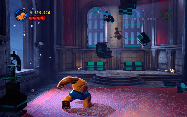 Kill all minions, then go to the central part of the arena and turn to the left - Green Goblin - Boss fights - LEGO Marvel Super Heroes - Game Guide and Walkthrough