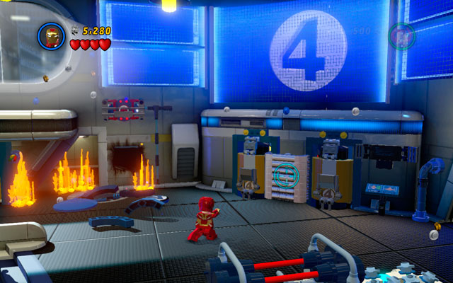 In the same room turn right and use Iron Man's rockets to destroy silver bars located there - Times Square Off - Minikit Sets - LEGO Marvel Super Heroes - Game Guide and Walkthrough