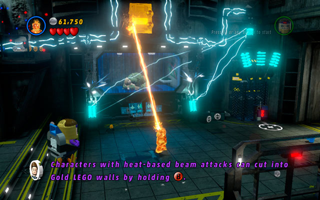Somewhere above the cage with Abomination locked inside you can find a golden wall - melt it using Human Torch - Rock Up at the Lock Up - Minikit Sets - LEGO Marvel Super Heroes - Game Guide and Walkthrough