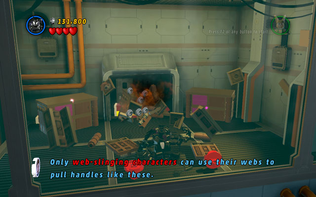 In the room hidden behind the blue-and-white wall choose a character with a web attack and yank two attachable points hanged on the wall - Rebooted, Resuited - Minikit Sets - LEGO Marvel Super Heroes - Game Guide and Walkthrough
