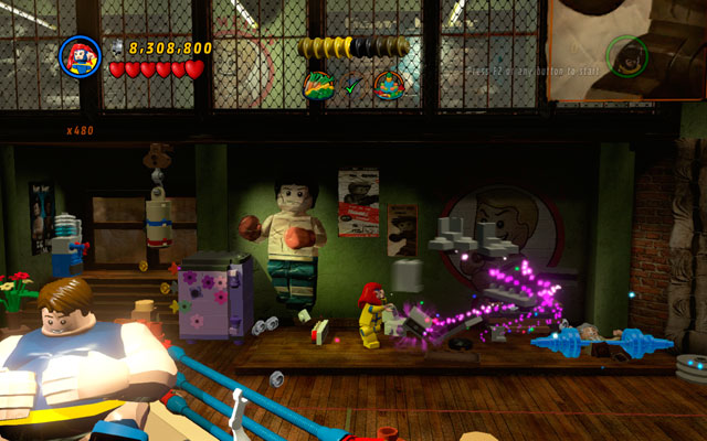 Now turn right, destroying all objects placed near to the wall - Put Up Your Dukes - Deadpool Bonus Missions: Walkthrough - LEGO Marvel Super Heroes - Game Guide and Walkthrough