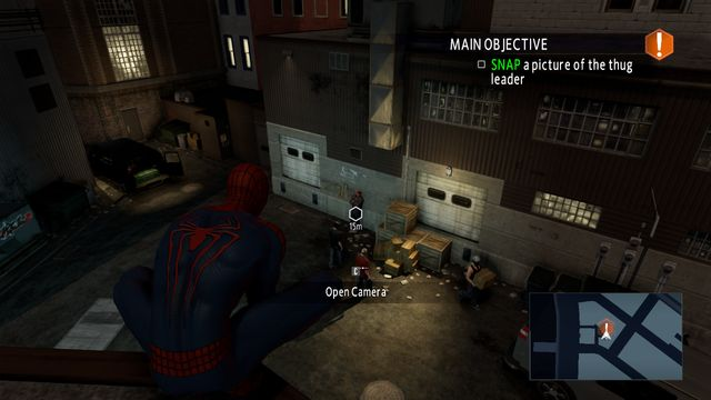 Your target is the guy leaning against the wall - On the trail of a killer! - Walkthrough - The Amazing Spider-Man 2 - Game Guide and Walkthrough