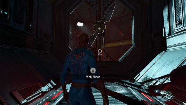 You can stop the fan with the web - Raid on OSCORP - Walkthrough - The Amazing Spider-Man 2 - Game Guide and Walkthrough