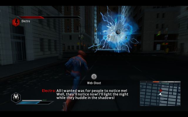 Keep shooting until Electros halo disappears - Power surge! - Walkthrough - The Amazing Spider-Man 2 - Game Guide and Walkthrough