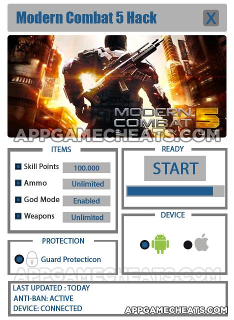 Modern Combat 5 Hack For Skill Points Ammo God Mode Weapons Appgamecheats Com Comprehensive