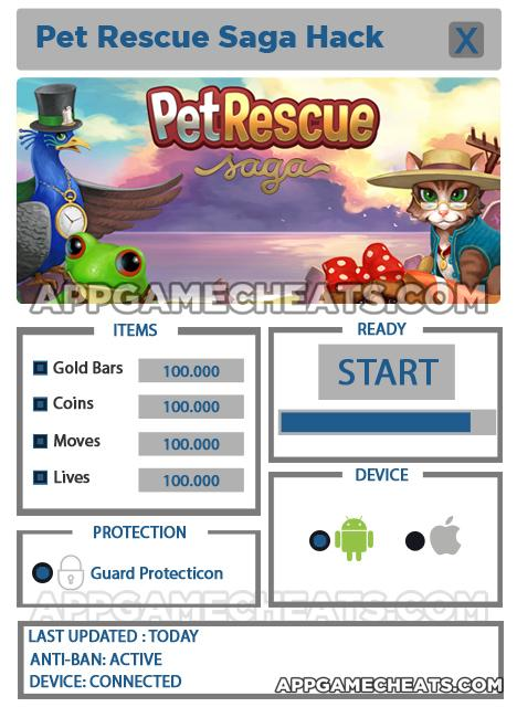 Pet Rescue Saga Hack For Gold Bars, Coins, Moves, and Lives