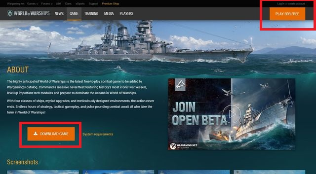 Once the page finishes loading, click the Play for free icon in the upper right corner of the screen - Registering, logging in, managing account - World of Warships - Game Guide and Walkthrough