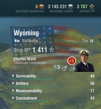In the upper right corner of the screen you will find a precise amount of premium currency, credits and free experience points that you have, and the currently selected warship - The port - Game interface - World of Warships - Game Guide and Walkthrough